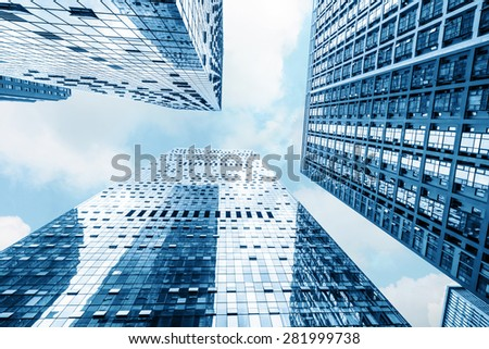 low angle view of modern buildings - stock photo