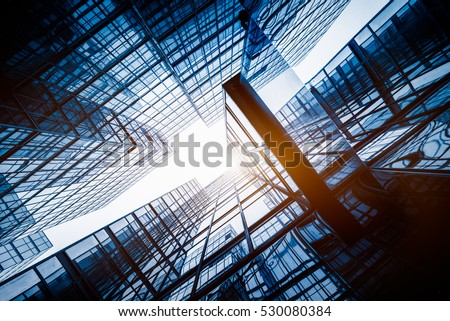 low angle view of skyscrapers in Hong Kong,China.