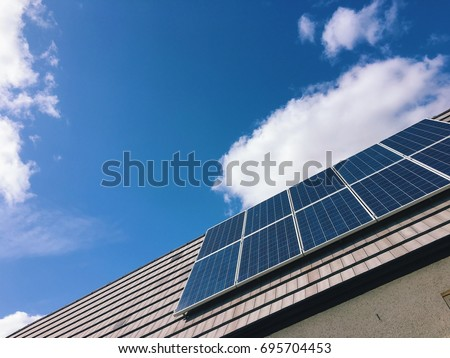 Low angle view of solar panel on roof