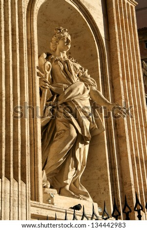 Low angle view of statues at St. Peter's Square, Vatican City, Rome, Rome Province, Lazio, Italy