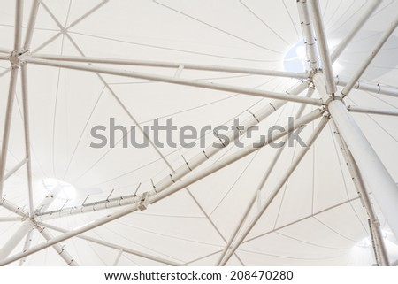 Low angle view of steel structure of modern building roof