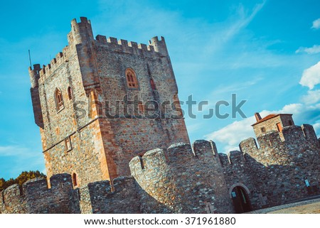 Low angle view of the castle of Braganza. - stock photo