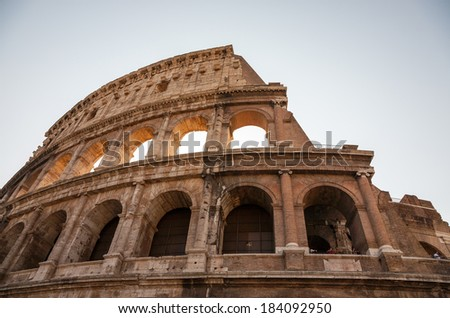 Low angle view of The Colosseum in Rome. - stock photo