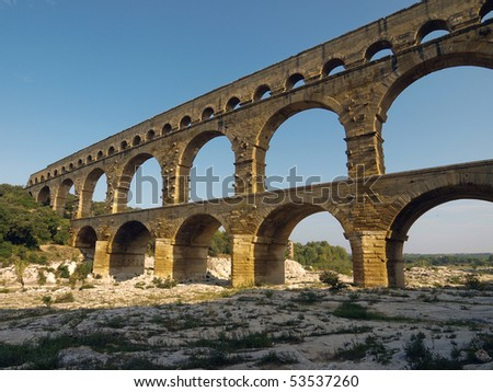 low angle view of the Pont du Gard, a Roman aqueduct in France