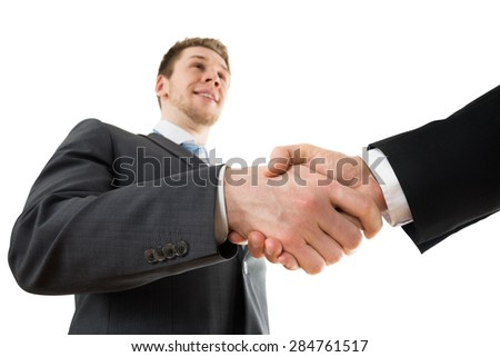 Low Angle View Of Two Businessman Shaking Hand