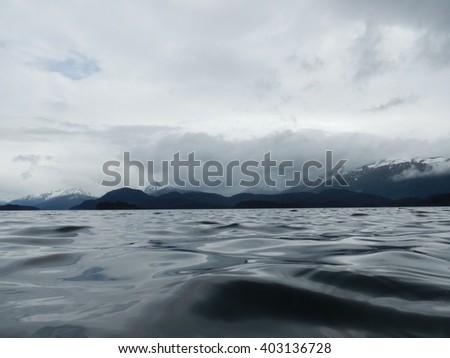 low angle view of waters in kenai peninsula - stock photo