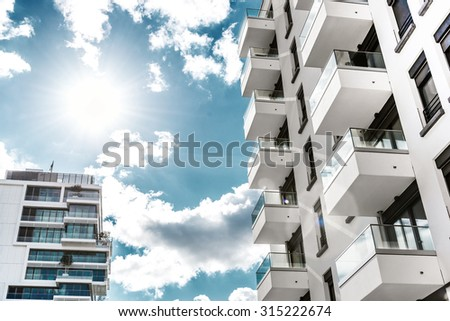 low angle view on modern  futuristic residential houses in berlin - stock photo