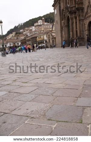 Low angle view, Plaza de Armas and Sacrada Familia, Cusco, Peru - stock photo