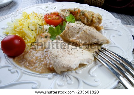 Low carb marinated chicken tend with basmati rice and spices - stock photo