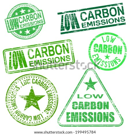 Low carbon emissions rubber stamp illustrations  - stock photo