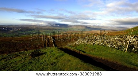 Low clouds over Ingleborough, Yorkshire - stock photo