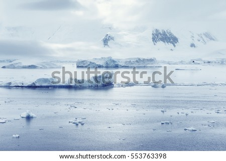 Low clouds over the mountains and chunks of ice floating, Port Lockroy research station, Antarctica, Polar