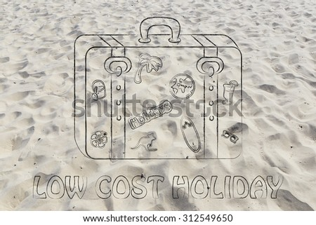 low cost holidays: baggage with mixed summer holiday inspiration stickers - stock photo
