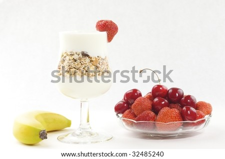 low fat, dieting breakfast with muesli, cereals yoghurt and fruit