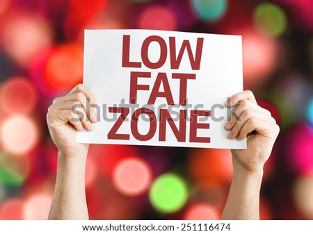 Low Fat Zone card with colorful background with defocused lights - stock photo