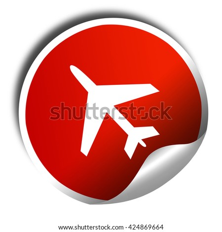 Low flying planes sign, 3D rendering, red sticker with white tex