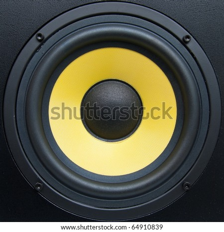 Low-frequency speaker (sub woofer) closeup - stock photo
