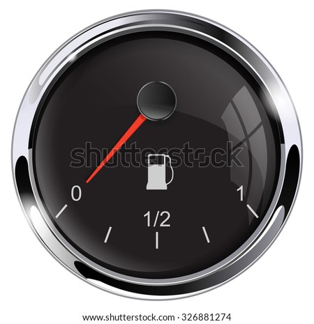 Low fuel. Gas meter. Raster version. Isolated on white. - stock photo