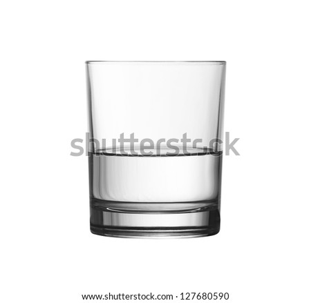 low half full glass of water isolated on white with clipping path included - stock photo