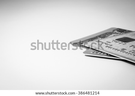 Low Key and Close Up Credit Card - stock photo