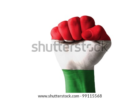 Low key picture of a fist painted in colors of hungary flag - stock photo