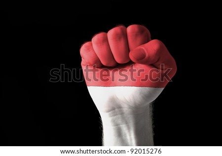 Low key picture of a fist painted in colors of indonesia flag - stock photo