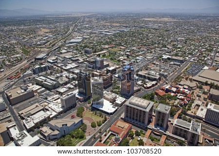 Low Level Aerial view of Downtown Tucson, Arizona - stock photo