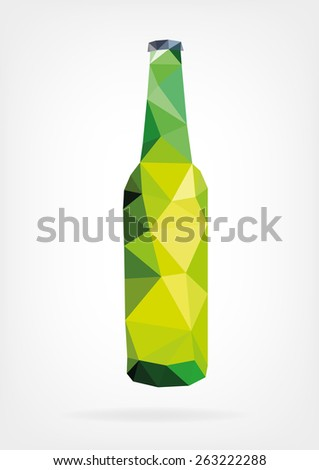 Low Poly Beer Bottle - stock photo