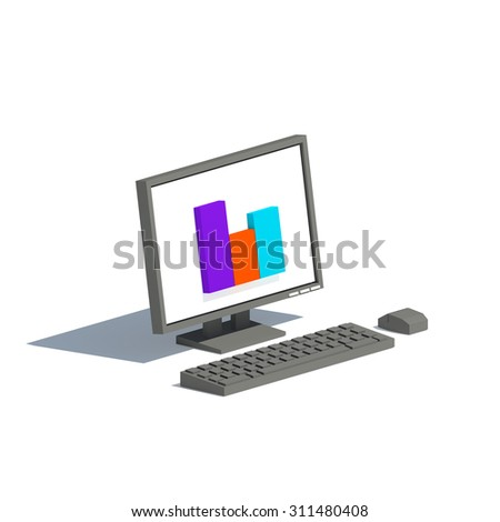Low poly black or gray computer monitor with bar graph on isolated white background
