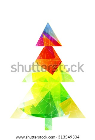 low poly christmas tree with copy space