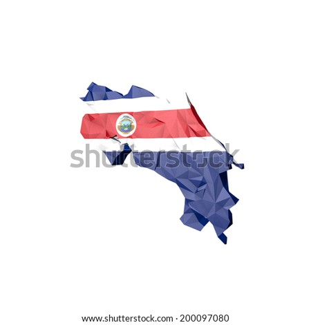 Low Poly Costarica Map with National Flag - Infographic Illustration - stock photo