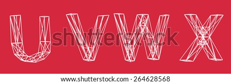 Low-poly 3d font on color background. Letters U,V,W,X - stock photo
