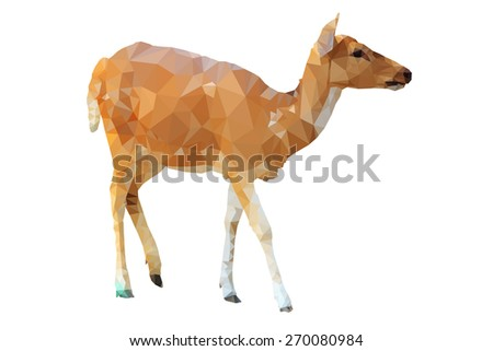 low poly deer on green field