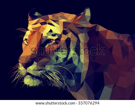 Low poly design. Tiger illustration. - stock photo
