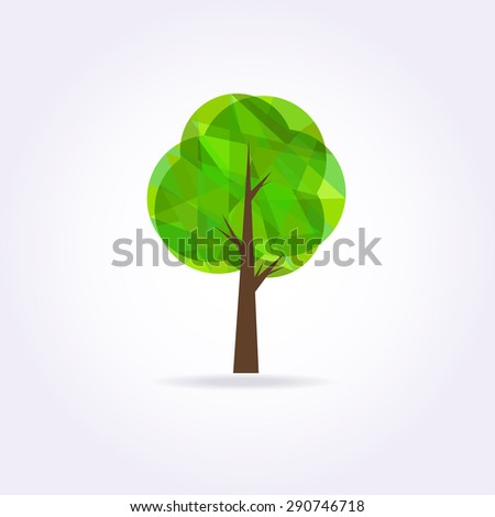 Low poly green tree ocon . Geometrical illustration. - stock photo