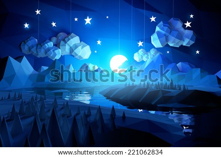 Low poly handmade feel landscape with mountains and a river at midnight. - stock photo