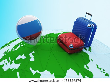 Low poly illustrated travel concept. 3d rendering. Travel to Russia. Luggages and Russian flag pin on globe.