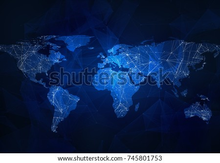 Lowpoly image world map lights communication ilustracin en stock low poly image of world map with lights communication wire frame concept of gumiabroncs Images