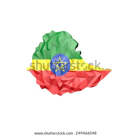 Low Poly Kenya Map with National Flag - Infographic Illustration - stock photo