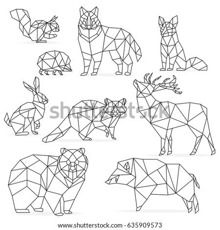 Low Poly Line Animals Set Origami Poligonal Wolf Bear Deer Wild Boar