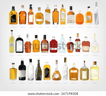Low Poly Liquor Bottles - stock photo