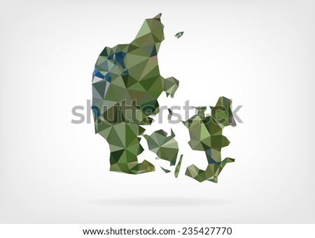 Low Poly Map of Denmark - stock photo