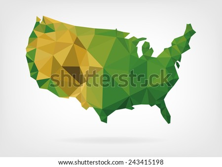 Low Poly map of USA - stock photo