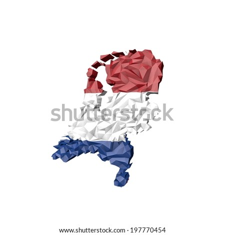 Low Poly Netherlands Map with National Flag - Infographic Illustration - stock photo