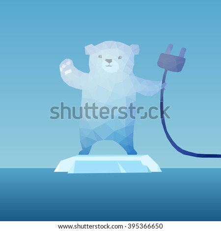low poly Polar bear  on the iceberg with plug, great for environment concept  - stock photo