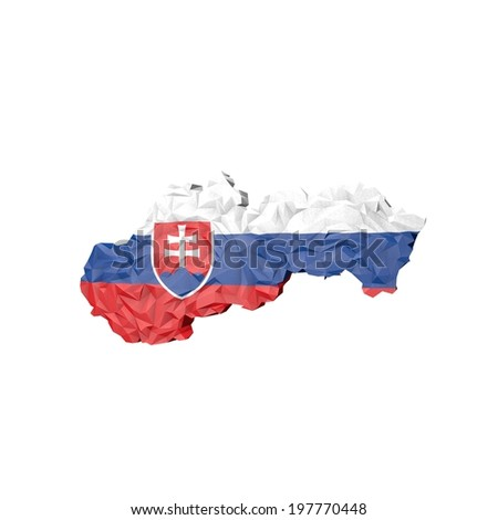 Low Poly Slovakia Map with National Flag - Infographic Illustration - stock photo