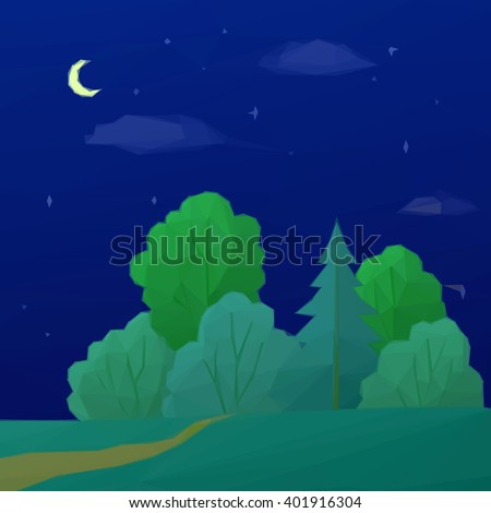 Low Poly Summer Landscape, Night Forest with Green Coniferous and Deciduous Trees and Sky with Clouds, Moon and Stars.