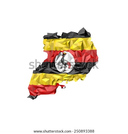 Low Poly Uganda Map with National Flag - Infographic Illustration - stock photo