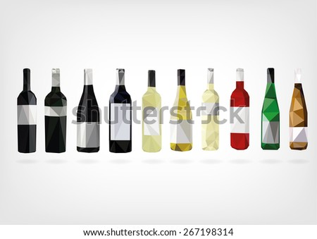 Low Poly Wine Bottles - stock photo