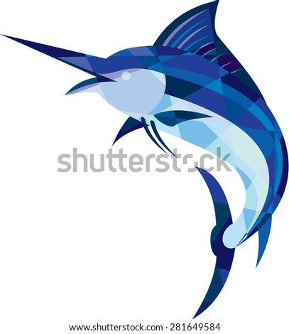 Low polygon style illustration of a blue marlin fish jumping viewed from the side set on isolated white background.  - stock photo